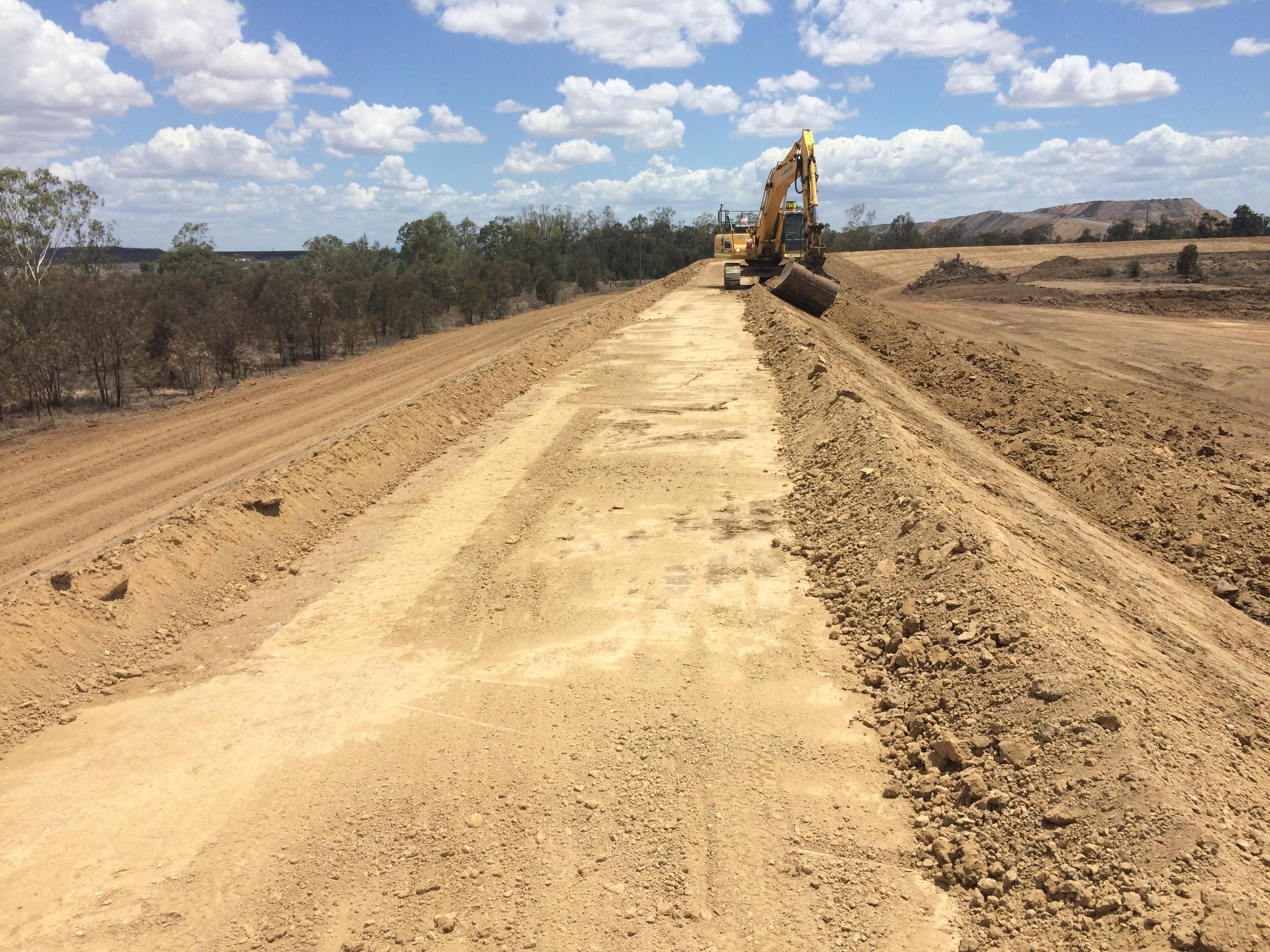 12 Mile Creek Civil Construction - Excavator on Embankment Works