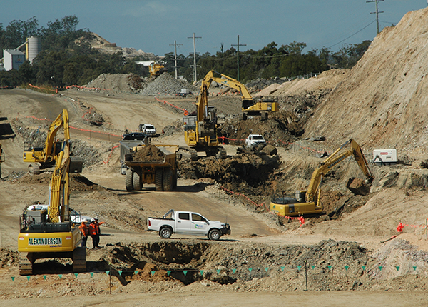 Road Works - Recycling & crushing of concrete for placement on form haul roads